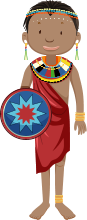 male african child holding shield