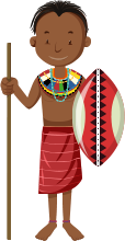 male african child holding spear